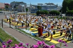Celebration of the first International yoga day in Tomsk. June 2015.